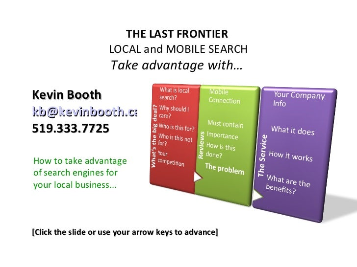 THE LAST FRONTIER                    LOCAL and MOBILE SEARCH                     Take advantage with…Kevin Boothkb@kevinbo...