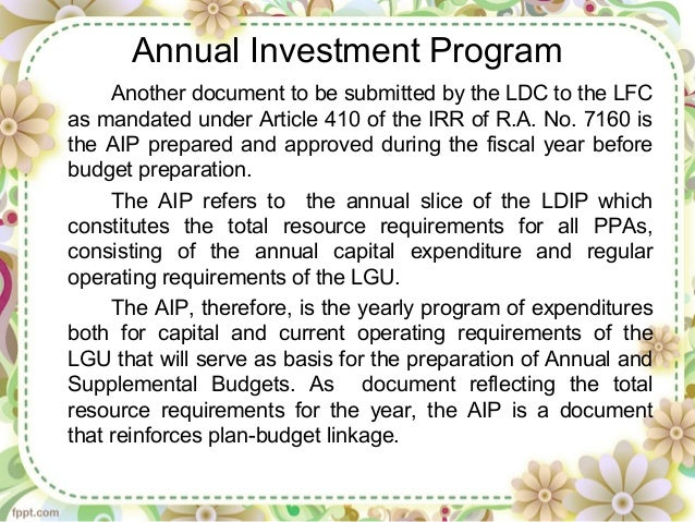 Annual investment plan of lgu forex4you carigold forum