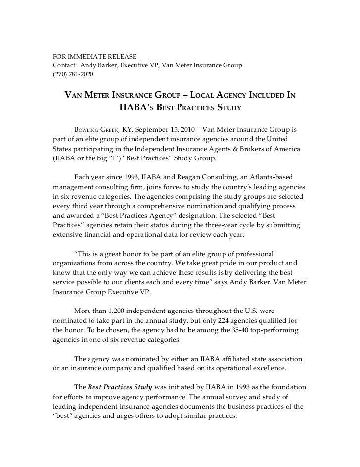 FOR IMMEDIATE RELEASEContact: Andy Barker, Executive VP, Van Meter Insurance Group(270) 781-2020   VAN METER INSURANCE GRO...