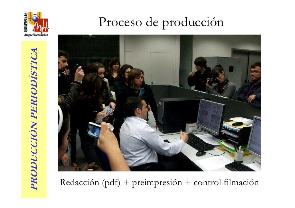 Proceso de producción PRODUCCIÓN PERIODÍSTICA                               Redacción (pdf) + preimpresión + control filma...