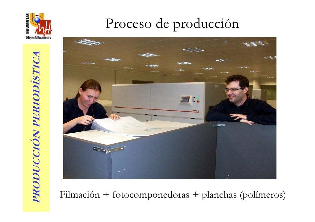 Proceso de producción PRODUCCIÓN PERIODÍSTICA                               Filmación + fotocomponedoras + planchas (polím...