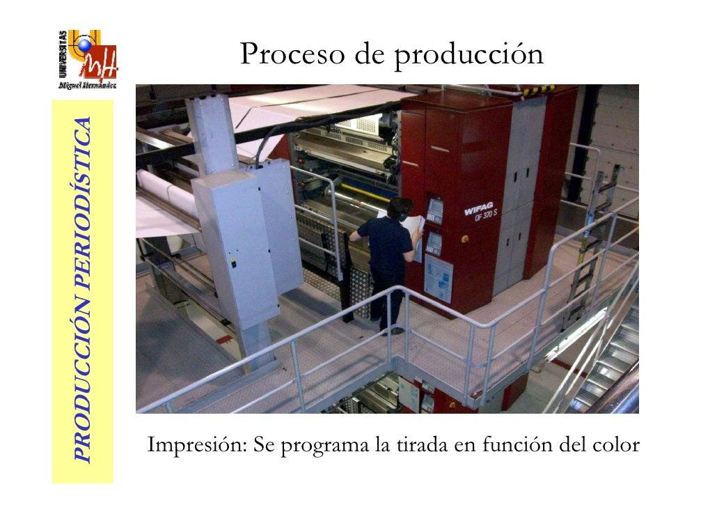 Proceso de producción PRODUCCIÓN PERIODÍSTICA                               Impresión: Se programa la tirada en función de...