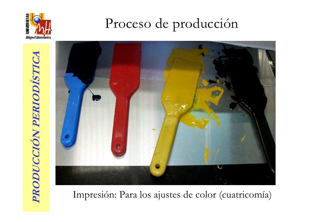 Proceso de producción PRODUCCIÓN PERIODÍSTICA                               Impresión: Para los ajustes de color (cuatrico...