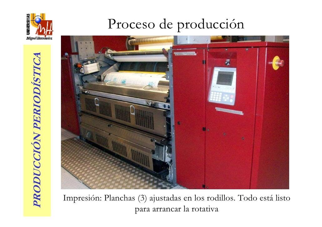 Proceso de producción PRODUCCIÓN PERIODÍSTICA                               Impresión: Planchas (3) ajustadas en los rodil...