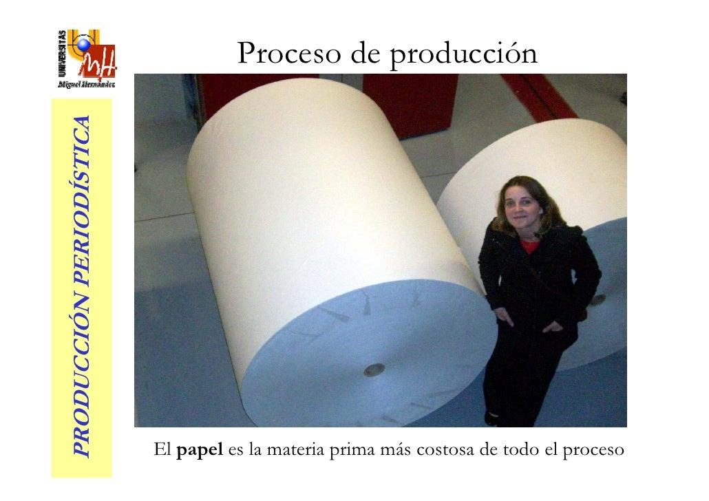 Proceso de producción PRODUCCIÓN PERIODÍSTICA                               El papel es la materia prima más costosa de to...