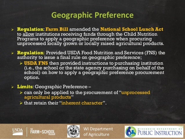 40. WI Department Of Agriculture Geographic Preference ...  Geographic Preference