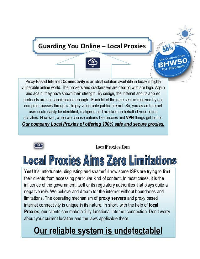   LocalProxies.Com Guarding You Online – Local Proxies Proxy-Based Internet Connectivity is an ideal solution availa...