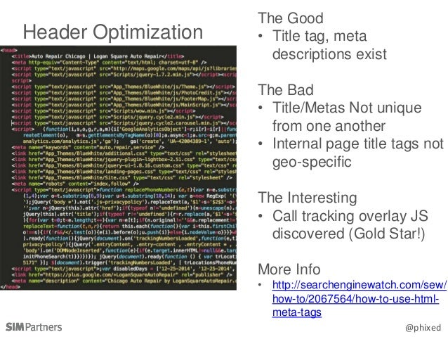 @phixed Header Optimization The Good • Title tag, meta descriptions exist The Bad • Title/Metas Not unique from one anothe...