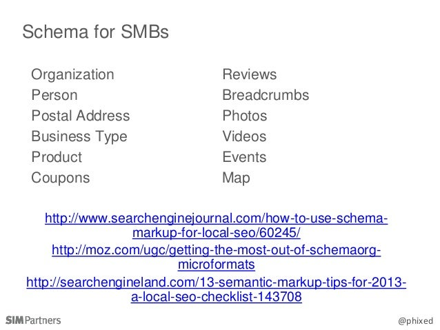 @phixed Schema for SMBs Organization Person Postal Address Business Type Product Coupons Reviews Breadcrumbs Photos Videos...