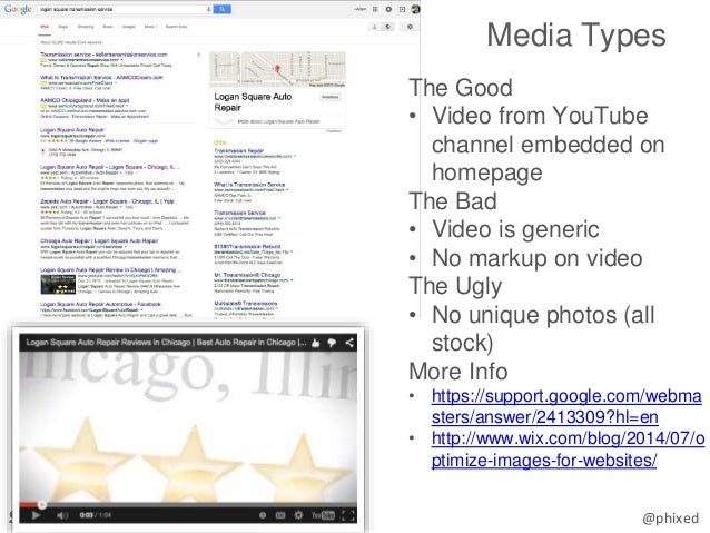 @phixed Media Types The Good • Video from YouTube channel embedded on homepage The Bad • Video is generic • No markup on v...