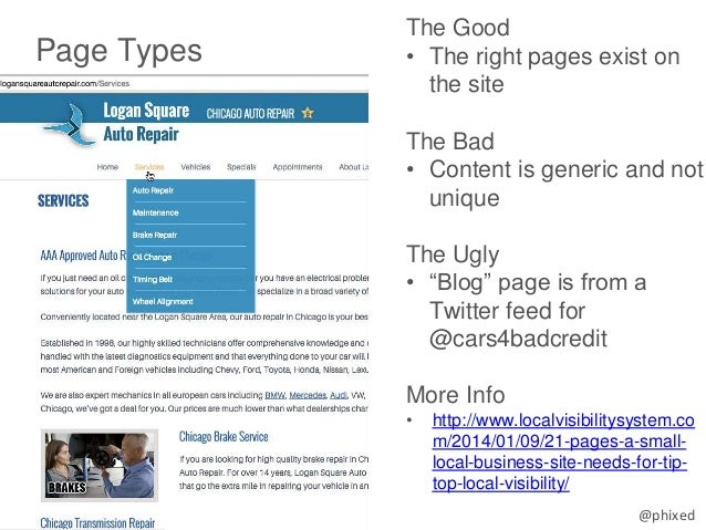 """@phixed Page Types The Good • The right pages exist on the site The Bad • Content is generic and not unique The Ugly • """"Bl..."""