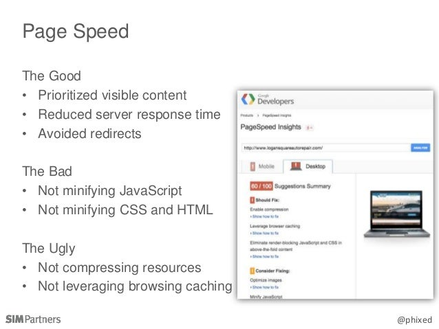 @phixed The Good • Prioritized visible content • Reduced server response time • Avoided redirects The Bad • Not minifying ...