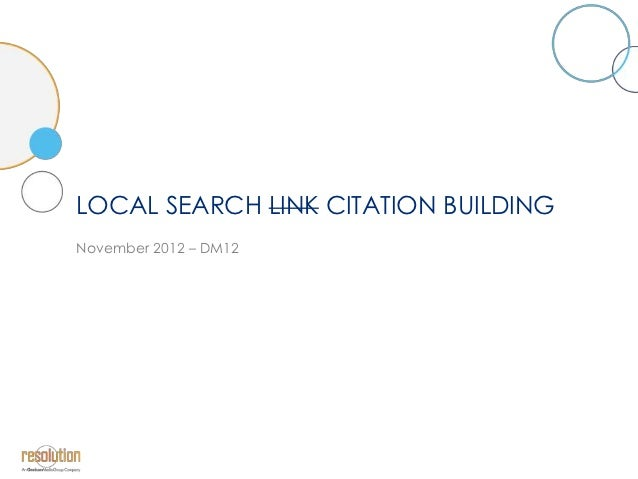 LOCAL SEARCH LINK CITATION BUILDINGNovember 2012 – DM12