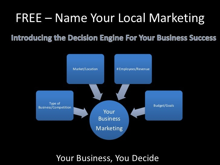 FREE – Name Your Local Marketing<br />Introducing the Decision Engine For YourBusiness Success<br />Your Business, You Dec...