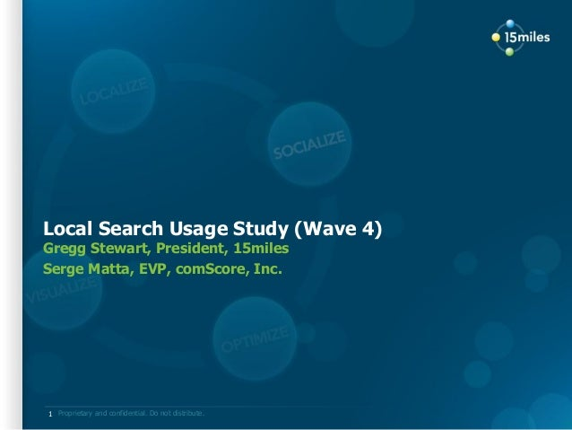 Proprietary and confidential. Do not distribute. Local Search Usage Study (Wave 4) Gregg Stewart, President, 15miles Serge...