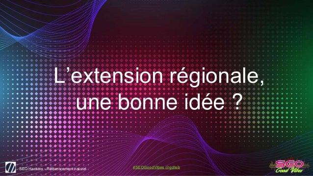 SEO Hackers - Référencement naturel #SEOGoodVibes @gdtsb L'extension régionale, une bonne idée ?