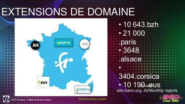 SEO Hackers - Référencement naturel #SEOGoodVibes @gdtsb EXTENSIONS DE DOMAINE • 10 643.bzh • 21 000 .paris • 3648 .alsace...