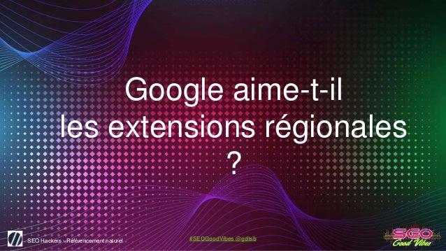 SEO Hackers - Référencement naturel #SEOGoodVibes @gdtsb Google aime-t-il les extensions régionales ?