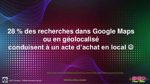 SEO Hackers - Référencement naturel #SEOGoodVibes @gdtsb 28 % des recherches dans Google Maps ou en géolocalisé conduisent...