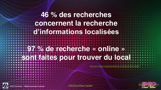 SEO Hackers - Référencement naturel #SEOGoodVibes @gdtsb 46 % des recherches concernent la recherche d'informations locali...