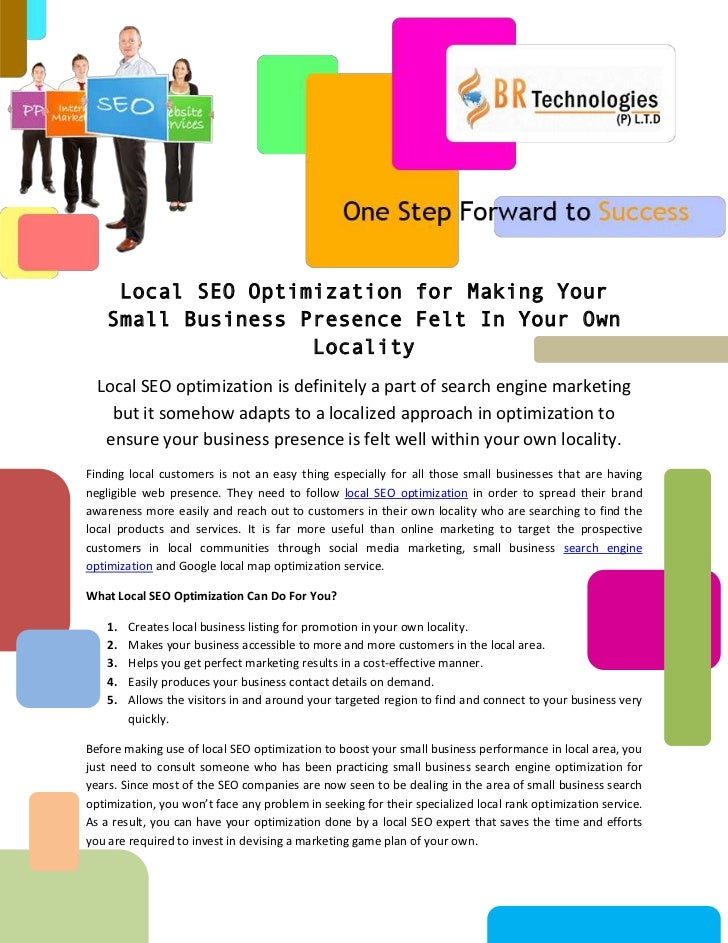 Local SEO Optimization for Making Your    Small Business Presence Felt In Your Own                    Locality  Local SEO ...