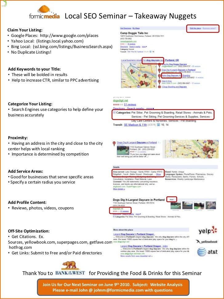 Local SEO Seminar – Takeaway Nuggets<br />Claim Your Listing:<br /><ul><li>  Google Places:  http://www.google.com/places