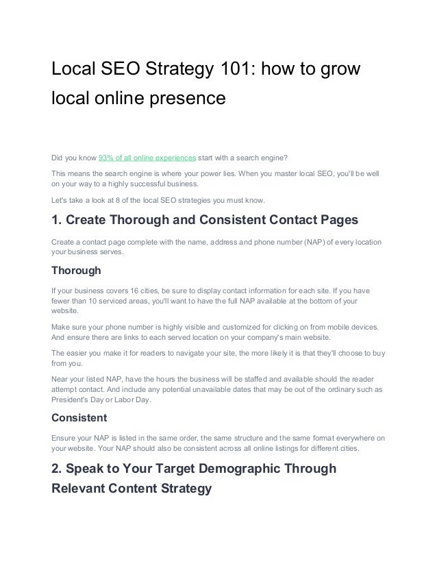 Local​ ​SEO​ ​Strategy​ ​101:​ ​how​ ​to​ ​grow local​ ​online​ ​presence Did​ ​you​ ​know​ ​​93%​ ​of​ ​all​ ​online​ ​ex...
