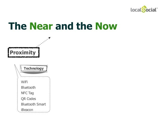The Near and the Now  Proximity  Technology  WiFi  Bluetooth  NFC Tag  QR Codes  Bluetooth Smart  iBeacon