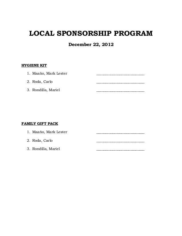 LOCAL SPONSORSHIP PROGRAM                          December 22, 2012HYGIENE KIT  1. Maaño, Mark Lester             _______...