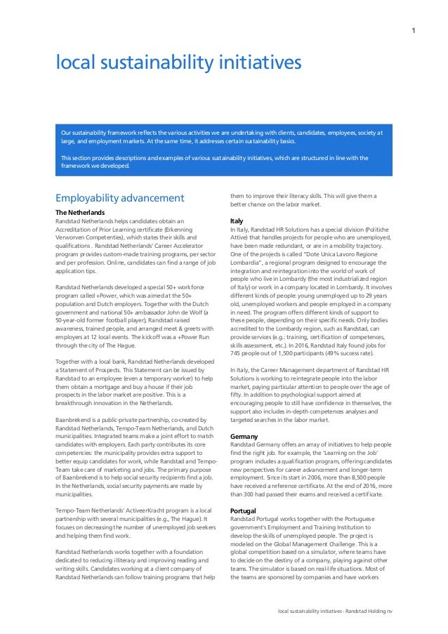 Local Sustainability Initiatives Of Randstad In Differents Countries