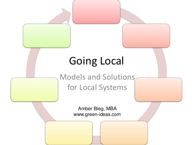 Going Local Models and Solutions for Local Systems Amber Bieg, MBA www.green-ideas.com