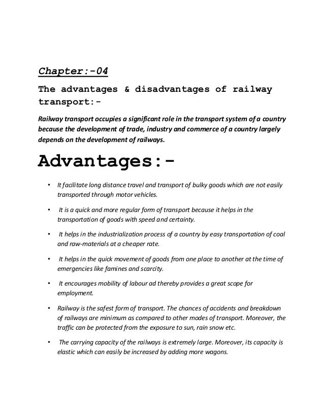 What are the advantages & disadvantages of railway transport?