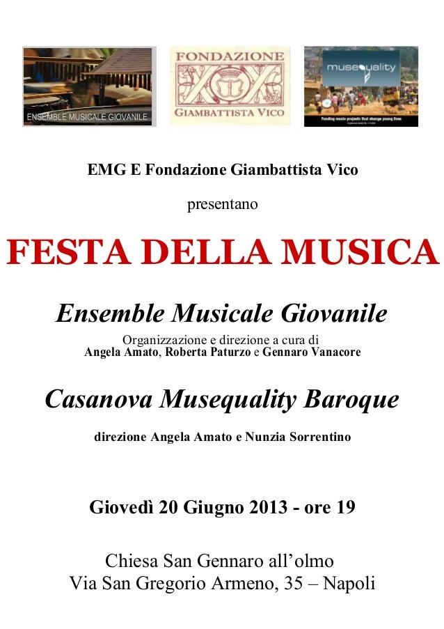 Ensemble Musicale GiovanileOrganizzazione e direzione a cura diAngela Amato, Roberta Paturzo e Gennaro VanacoreCasanova Mu...