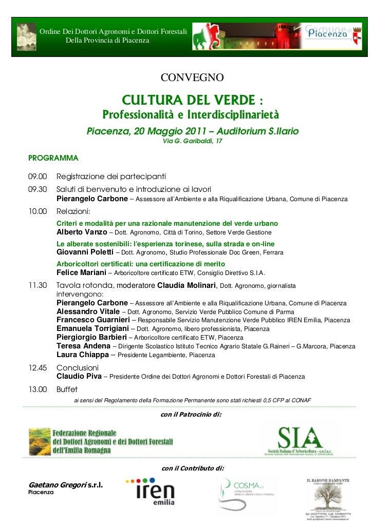 Ordine Dei Dottori Agronomi e Dottori Forestali           Della Provincia di Piacenza                                     ...