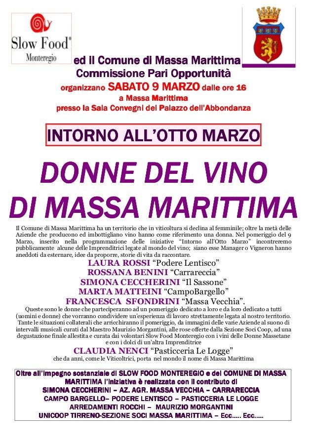 ed il Comune di Massa Marittima                     Commissione Pari Opportunità                 organizzano SABATO 9 MARZ...