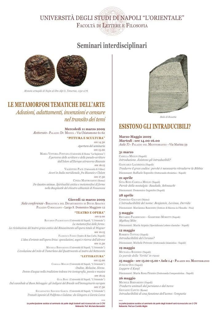 """UNIVERSITÀ DEGLI STUDI DI NAPOLI """"L'ORIENTALE""""                                          FACOLTÀ DI LETTERE E FILOSOFIA    ..."""