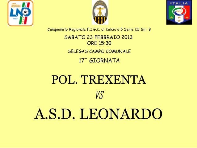 Campionato Regionale F.I.G.C. di Calcio a 5 Serie C2 Gir. B          SABATO 23 FEBBRAIO 2013                 ORE 15:30    ...