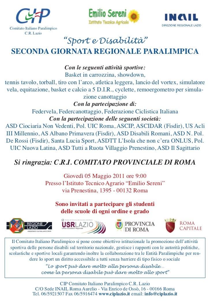 """DIREZIONE REGIONALE LAZIO  Comitato Italiano Paralimpico           C.R. Lazio             """"Sport e Disabilità""""  SECONDA GI..."""