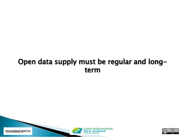 Open data supply must be regular and long- term