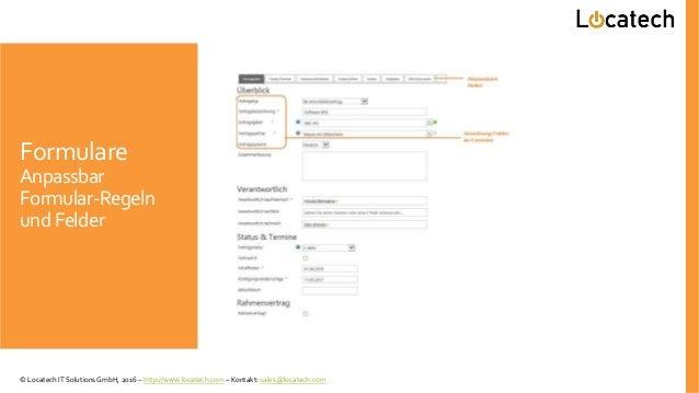 Formulare Anpassbar Formular-Regeln und Felder © Locatech IT Solutions GmbH, 2016 – http://www.locatech.com – Kontakt: sal...