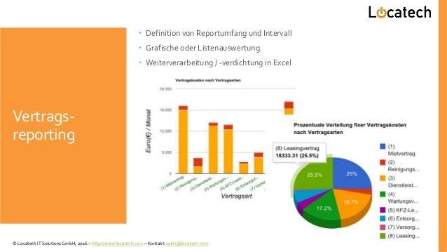 Vertrags- reporting  Definition von Reportumfang und Intervall  Grafische oder Listenauswertung  Weiterverarbeitung / -...
