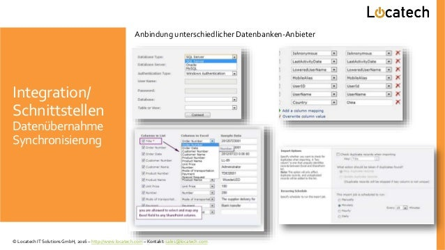 Integration/ Schnittstellen Datenübernahme Synchronisierung Anbindung unterschiedlicher Datenbanken-Anbieter © Locatech IT...
