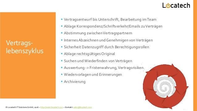 Vertrags- lebenszyklus  Vertragsentwurf bis Unterschrift, Bearbeitung imTeam  Ablage Korrespondenz/Schriftverkehr/Emails...