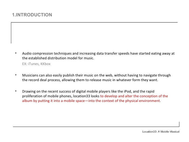 1.INTRODUCTION <ul><li>Audio compression techniques and increasing data transfer speeds have started eating away at the es...