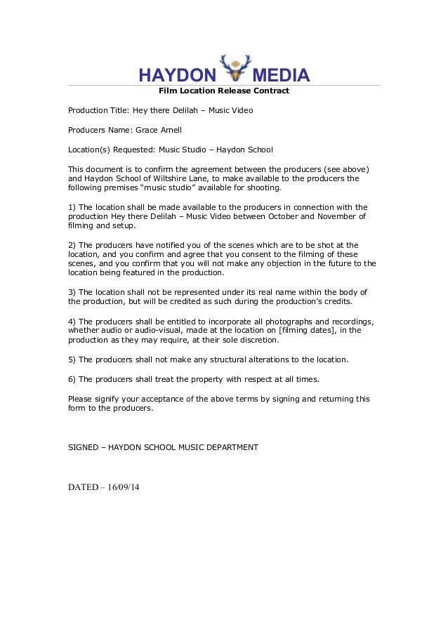 Film Production Agreement Contract Gallery  Agreement Letter Format