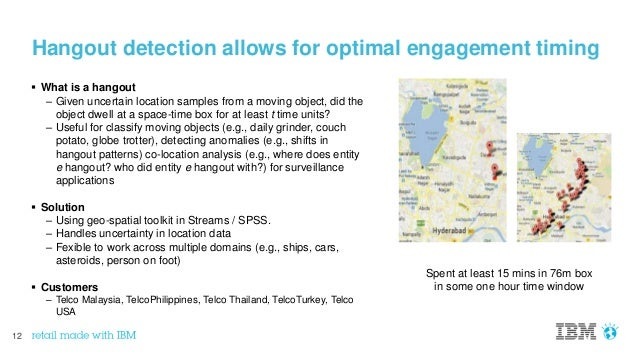 12 Hangout detection allows for optimal engagement timing  What is a hangout – Given uncertain location samples from a mo...