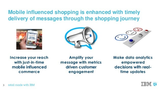 3 Mobile influenced shopping is enhanced with timely delivery of messages through the shopping journey Make data analytics...