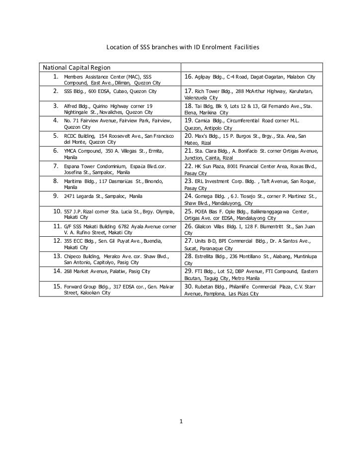 Location of SSS branches with ID Enrolment FacilitiesNational Capital Region   1. Members Assistance Center (MAC), SSS    ...