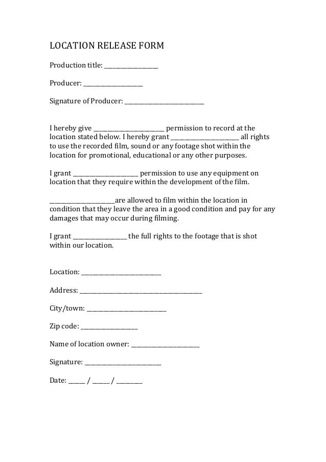 Film Release Form. Film Talent Release Form Sample Talent Release ...