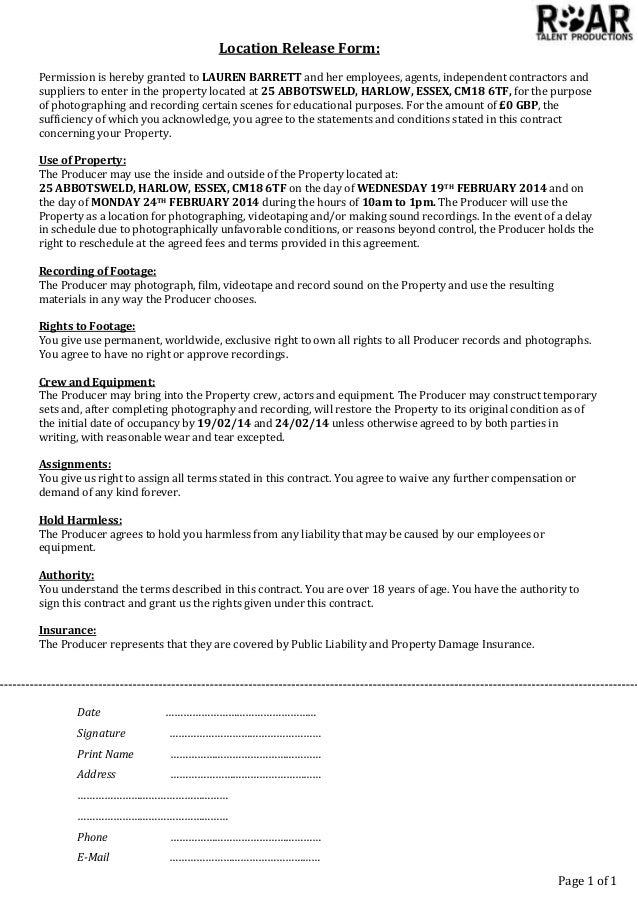 Location Release Form My House